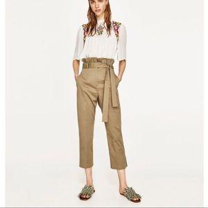 Zara High Waisted Wrap Tie Trouser Pant